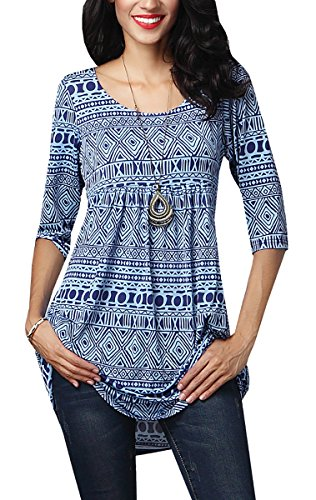 Gemijack Women's Blue Geometric Print Tunic 3/4 Sleeve Blouse Shirt Tops