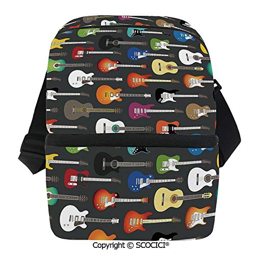 SCOCICI Cooler Bag Grunge Instruments Strings Creativity Writing Songs Classic Acoustic Music Insulated Lunch Bag for Men Women for Kayak,Beach,Travel,Work,Picnic,Grocery]()