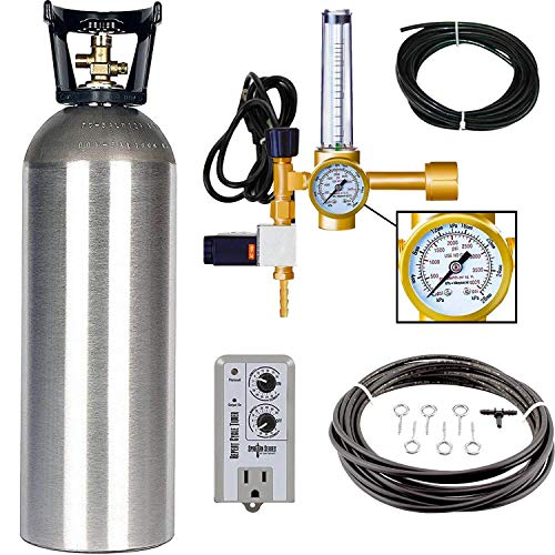 Grow Crew Hydroponic CO2 Enrichment Kit | Includes 20 lb Aluminum CO2 Tank, Carbon Accelerator CO2 Regulator, Spartan Series Repeat Cycle Timer, and a Active Air Rain System to Shower Your Plants
