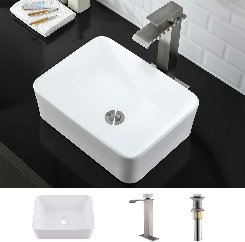 Rectangle Bathroom Sink And Faucet Combo Wmxqx 16 X12 Rectangle Bathroom Sink Above Counter White Porcelain Ceramic Bathroom Vessel Vanity Sink Art Basin Faucet Matching Pop Up Drain Combo Amazon Com