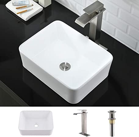 NEW Modern Contemporary Vessel Sink Bathroom Faucet Vanity Lavatory Pop-up Drain