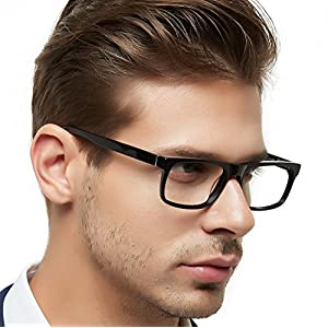 OCCI CHIARI Men Casual Full-Rim Acetate Eyeglasses Frames with Clear Lenses MELE (Black, 54)