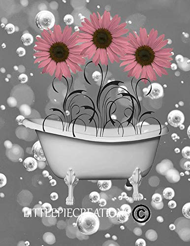 (Pink Gray Decorative Bath Wall Art, Sunflower & Bubbles 8x10 Inch with 11x14 Inch White Mat *Goes inside a 11x14 Inch Picture Frame*)