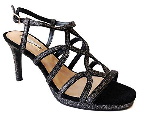 Sandalia Tacón Tiras Negro-plateado D'Angela