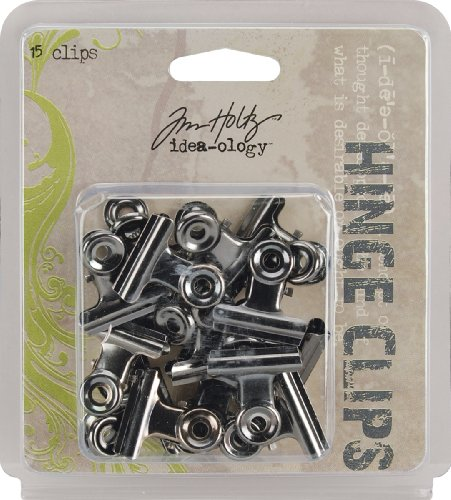 Tim Holtz Idea-Ology 1 Inch Hinge Clips - 15PK/Antique Nickel ()