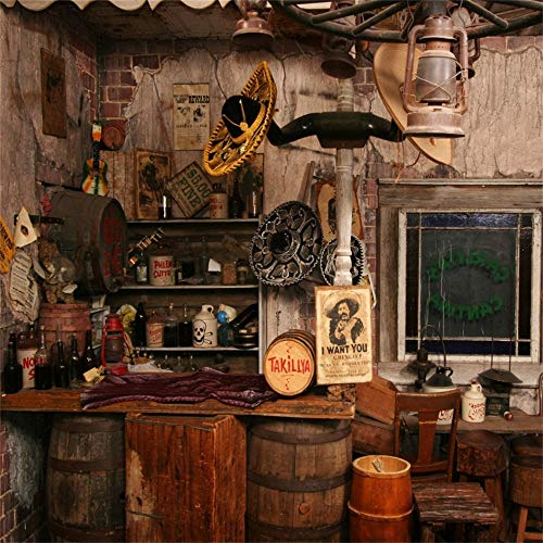 OFILA Western Saloon Backdrop 8x8ft Wild West Photography Background Barrel Cowboy Theme Party Decoration Adult Events Country Club Video Children Photobooth Props -