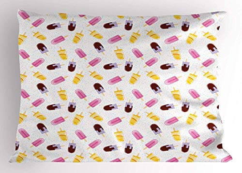 (K0k2t0 Ice Cream Pillow Sham, Frozen Fruit Flavored Popsicles in Cartoon Style on Polka Dot Background Cute, Decorative Standard Queen Size Printed Pillowcase, 30 X 20 Inches, Multicolor)