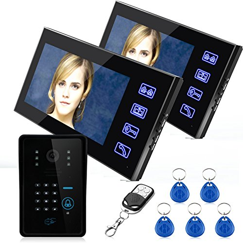 MOUNTAINONE 7' Two Monitors RFID Password Video Door Phone Intercom Doorbell With IR Camera 1000 TV Line Remote Access Control System