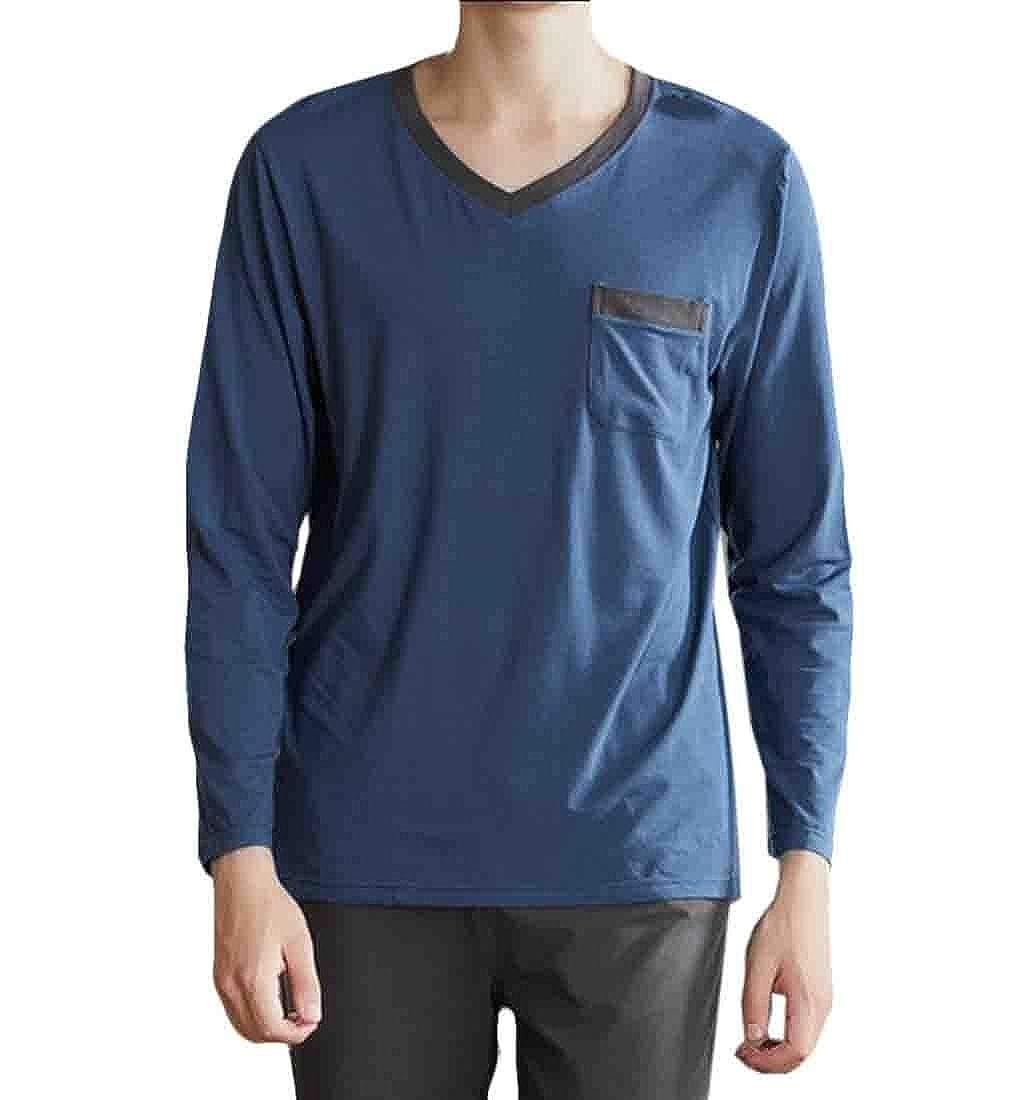 Mens Long Sleeve Sleep Top Bottom Sleep Cotton Pajama Set