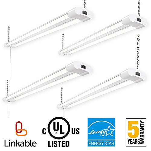 40w Led Shop Light Garage Light W Pull Chain: Amico Linkable 4FT LED Utility Shop Lights For Garage,40W