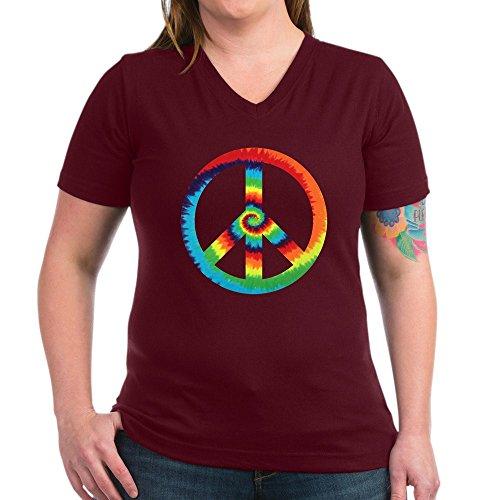 (Royal Lion Women's V-Neck Dark T-Shirt Tye Dye Peace Symbol - Garnet, Large)