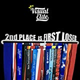 Visual Elite | 2nd Place is First Loser | Medal Hanger Hand-Forged Silver Chrome Finish Metal Hanger Design For Marathon, Running, Race, 5K, Etc. The Medal Hangers Collection