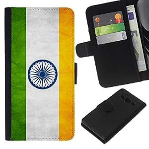 KLONGSHOP // Tirón de la caja Cartera de cuero con ranuras para tarjetas - Nacional bandera de la nación País India - Samsung Galaxy A3 //
