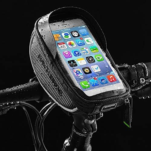 自転車電話フロントフレームバッグ、自転車フレームハンドルバーバッグ、防水自転車トップチューブサイクリング電話マウントパック、6.0インチ未満の携帯電話用タッチスクリーン