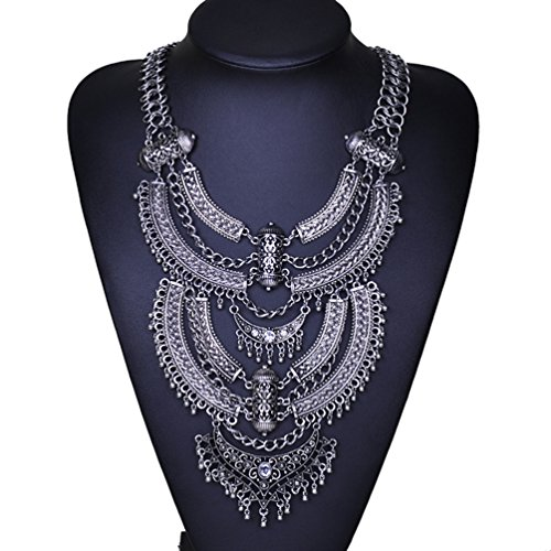 sweetime-fashion-vintage-zic-alloy-big-pendant-bib-chain-statement-necklace-for-women-silver