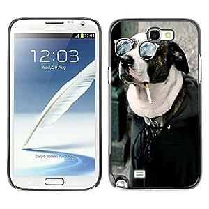 YiPhone /// Prima de resorte delgada de la cubierta del caso de Shell Armor - Cool Funny Badass Smoking Hipster Dog - Samsung Galaxy Note 2 N7100