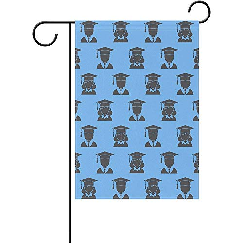 CdVeK9ca Duble Sided Class of 2017 Congrats Men and Women Graduate Party Polyester Garden Flag 12 X 18 Inches, Decorative Yard Flag for Party Home Outdoor Decor -