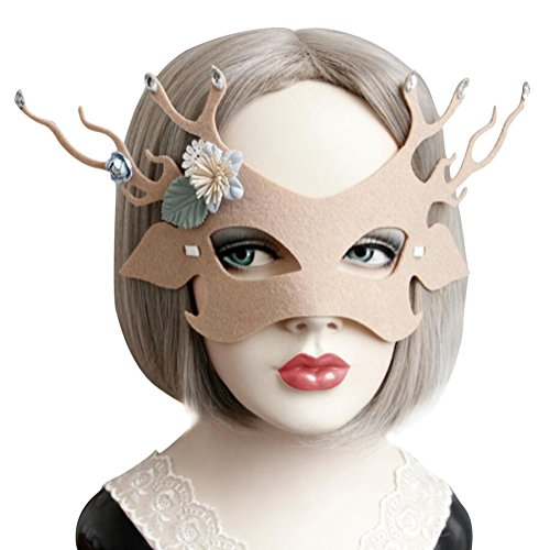 Elk Costume Mask for Women Cute, Halloween Masquerade Funny Animal Masks Beige Yellow (Beige) -