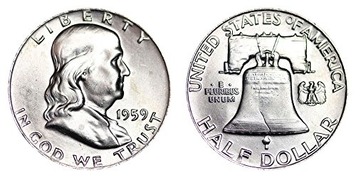 - 1959 P Franklin Half Brilliant Uncirculated 90% Silver US Coin MS/BU Fifty Cents .50 Half Choice Brilliant Uncirculated