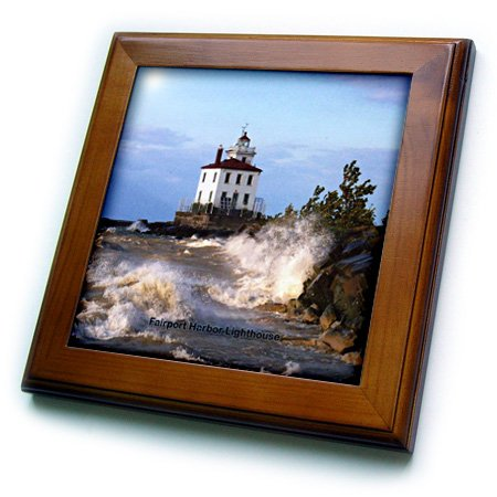 3dRose ft_61705_1 Fairport Harbor Lighthouse Looking Over Lake Erie Framed Tile, 8 by 8-Inch ()