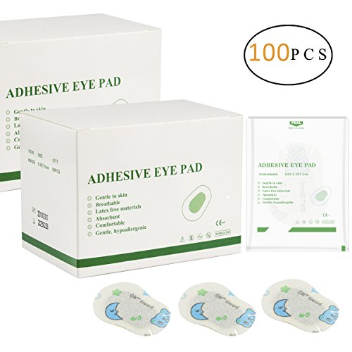 PAMASA 100 PCS Amblyopia Eye Patches for Kids Boys Girls with Comfortable and Breathable Backing, Adhesive Sticky Eye Patch for Lazy Eyes and Crossed Eyes - Regular Size 2.65 in