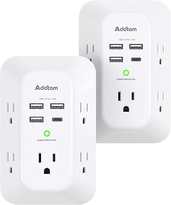 2 Pack USB Wall Charger Surge Protector, 5 Outlet Extender with 4 USB Charging Ports ( 1 USB C Outlet) 3 Sided 1800J Power Strip Multi Plug Outlets, Wall Adapter Spaced for Home Travel Office   Amazon