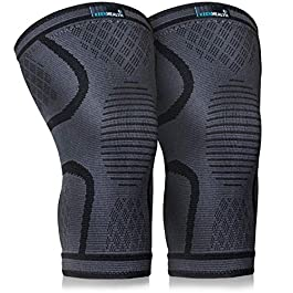 Keenhealth Compression Knee Brace (2Pack) – Knee Sleeve Pain Relief – for Arthritis, ACL and MCL – Support for Gym, Running, Working Out and Sports – for Men and Women (Black, L)