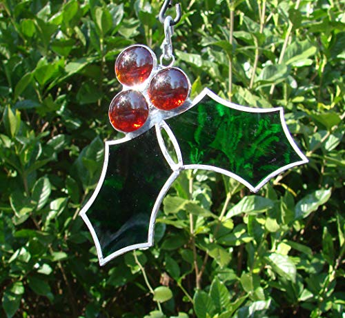 Handmade Holly Leaves and Berries Stained Glass Christmas Tree Ornament