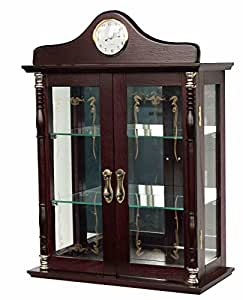 cherry keepsake curio cabinet with clock accent makes a great gift for her this. Black Bedroom Furniture Sets. Home Design Ideas