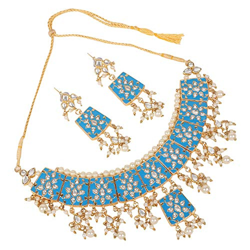 Ratna Bollywood Traditional South Indian Women Wedding Pearl Choker Necklace Earring Set Wedding Partywear Jewelry (Blue)
