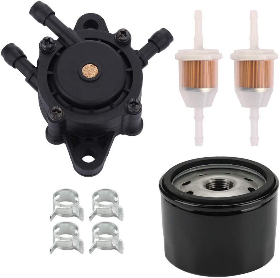 Mengxiang 808322 557033 Fuel Pump with 492932S Oil Filter for Kohler 2439304S 2439316S Briggs and Stratton 808281 692313 John Deere LG808656 M138498 M145667 Honda 16700-ZL8-003 Kawasaki 49040-7001