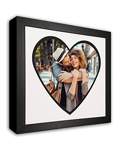 Heart Mat Cut-Out Picture Frame with Black Accent Made to Display 8x10-Inch Photos