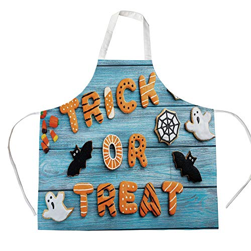 iPrint Cotton Linen Apron,Two Side Pocket,Halloween,Fresh Trick or