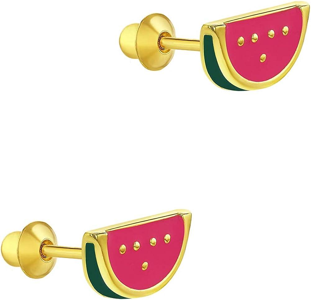 Placcato oro 18/K frutta anguria rosa smalto Kids vite indietro orecchini