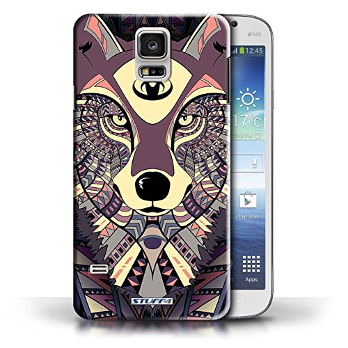 Etui / Coque pour Samsung Galaxy S5/SV / Loup-Cramoisi conception / Collection de Motif Animaux Aztec
