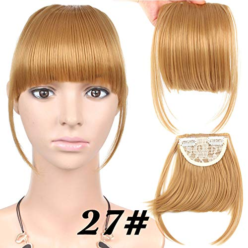 Fake Bangs Clip Ons 6 Inches Straight Short Front Synthetic Clean, Hair Pieces Bangs For Women,#27,6""