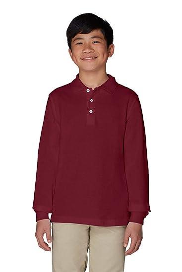 French Toast Boys Big Long Sleeve Pique Polo Shirt