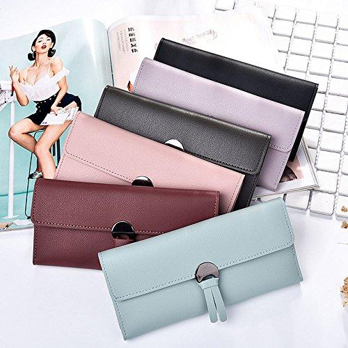 Damen Leder Geldbörse Langer Typ Freizeit Handtasche Frauen Mode Lackleder Multi Kreditkarten Telefon Tasche Brieftasche (Rosa) Violett