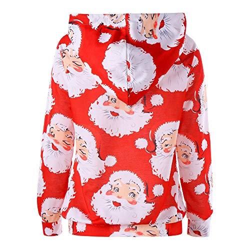 Hooded Maglietta della Felpa Accostare Piebo Donne Camicetta Stampa Lampo Chiusura Tops Donne Rosso2 Natale Punti xRz7aq
