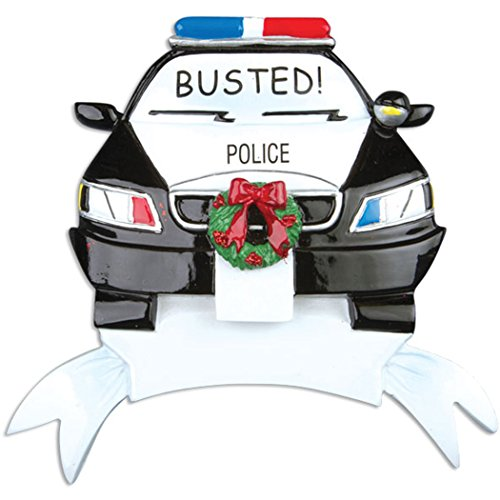 - Personalized Police Car Christmas Tree Ornament 2019 - Cop Cruiser with Red Blue Lights Wreath Busted! Radio Mobile Patrol RMP Tickets New Job Agent Profession Gift Year - Free Customization