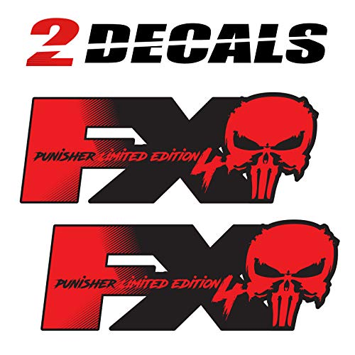 Tires FX Ford FX4 Off Road Black Punisher Decals Stickers - F (1997-2010) Super Duty F250 F350 F450 (Set of 2)
