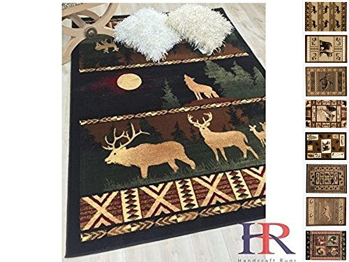 - Handcraft Rug - Lodge, Cabin Nature and Animals Area Rug - Nature Pattern Cabin Area Rug - Abstract, Black/Beige/Green/Red-Wolf/Moon/Deer (4x5 feet)