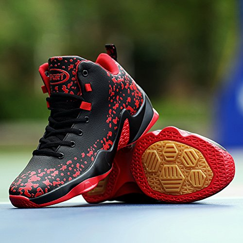 GOMNEAR Basketball Shoes Men Breathable Lightweight Outdoor Ankle Trainers Boots Running Sports Sneaker Black Red YgmLhp5U