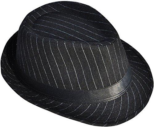Men / Women's Pin Striped Short Brim Manhattan Trilby Fedora Hat, Black