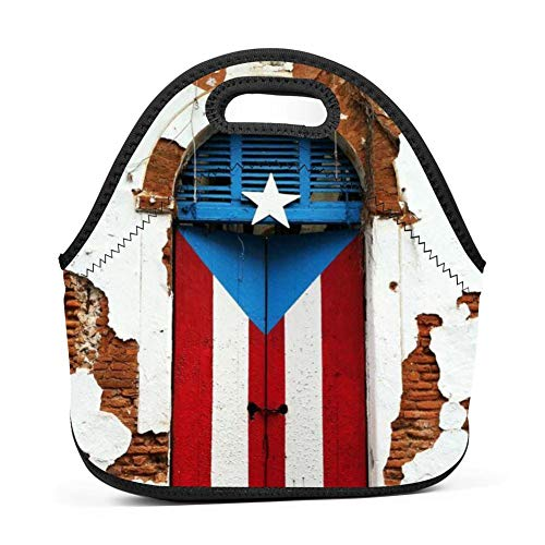 Puerto Rico FIST Door Lunch Tote Thick Insulated Thermal Lunch KD-T Bag Waterproof Travel Picnic Carry Case Bento Handbags ()