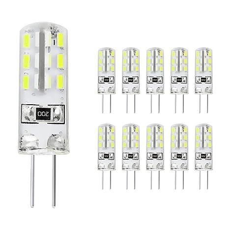 Sominue Paquete de 10 bombillas LED G4 1.8W G4 Bombillas LED blancas de alto brillo