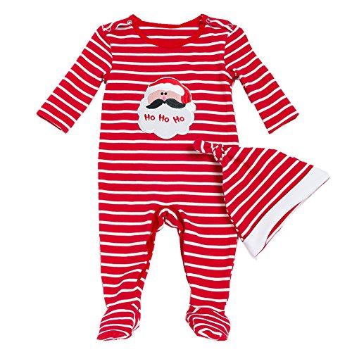 Beide Baby Boys Girls Christmas Santa Claus Footie Pajama with Hat(9-12)