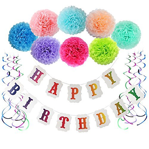 LITAUS Birthday Decorations for Girls& Boys,Happy birthday banner with Pom Pom and Party Swirls for Baby girls first birthday decorations,Rainbow Birthday Party Supplies