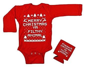 Amazon.com: Merry Christmas Ya Filthy Animal Baby Longsleeve ...