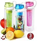 Fruit Infuser Water Bottle 3-pk 25 oz Infused...